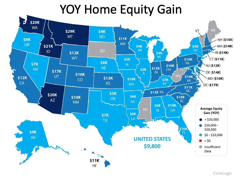 YOY Home Equity Gain.  In the U S we have had a year of year equity gain of $9,800.  In Florida we have had a $10,000 gain year over year.  As for the the other states: Alabama: $6,000.  Alaska: $4,000.  Arizona $20,000.  Arkansas $6,000.  California $12,000.  Colorado $10,000.  Connecticut $11,000.  Delaware $14,000.  Georgia $10,000.  Hawaii $11,000.  Idaho $21,000.  Illinois $2,000.  Indiana $12,000.  Iowa $5,000.  Kansas $13,000.  Kentucky $7,000.  Louisiana $9,000.  Maine Insufficient Data.  Maryland $10,000.  Massachusetts $14,000.  Michigan $4,000.  Minnesota $11,000.  Mississippi Insufficient Data.  Missouri $10,000.  Montana $29,000.  Nebraska $8,000.  Nevada $7,000.  New Hampshire $15,000.  New Jersey $12,000.  New Mexico $10,000.  New York $4,000.  North Carolina $11,000.  North Dakota $4,000.  Ohio $10,000.  Oklahoma $5,000.  Oregon $9,000.  Pennsylvania $10,000.  Rhode Island $14,000.  South Carolina $10,000.  South Dakota Insufficient Data.  Tennessee $12,000.  Texas $7,000.  Utah $17,000.  Vermont Insufficient Data.  Virginia $14,000.  Washington $20,000.  West Virginia Insufficient Data.  Wisconsin $9,000.  Wyoming $12,000.  Source: CoreLogic