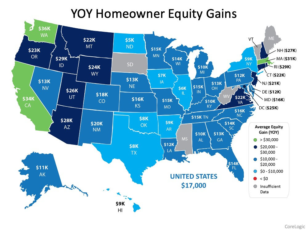 Year over year Homeowner Equity Gains.  United States $17,000, Florida Equity Gain $14,000. Source: CoreLogic.