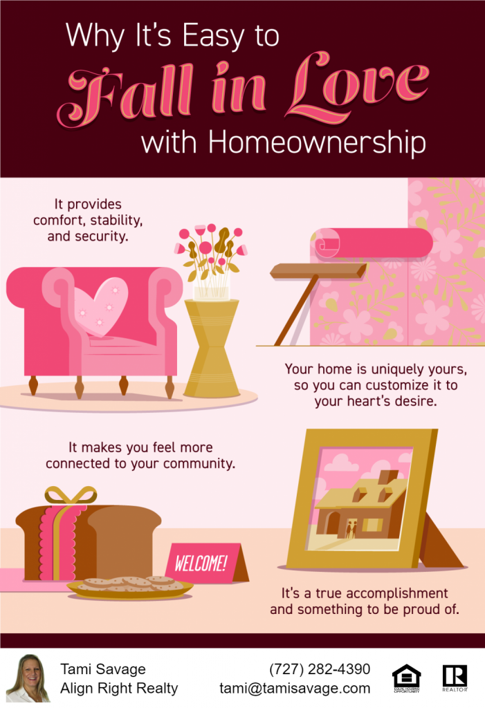 Why it's Easy to Fall in Love with Homeownership. It provides comfort, stability, and security. Your home is uniquely yours, so you can customize it to your heart's desire. It makes you feel more connected to your community. It's a true accomplishment and something to be proud of.