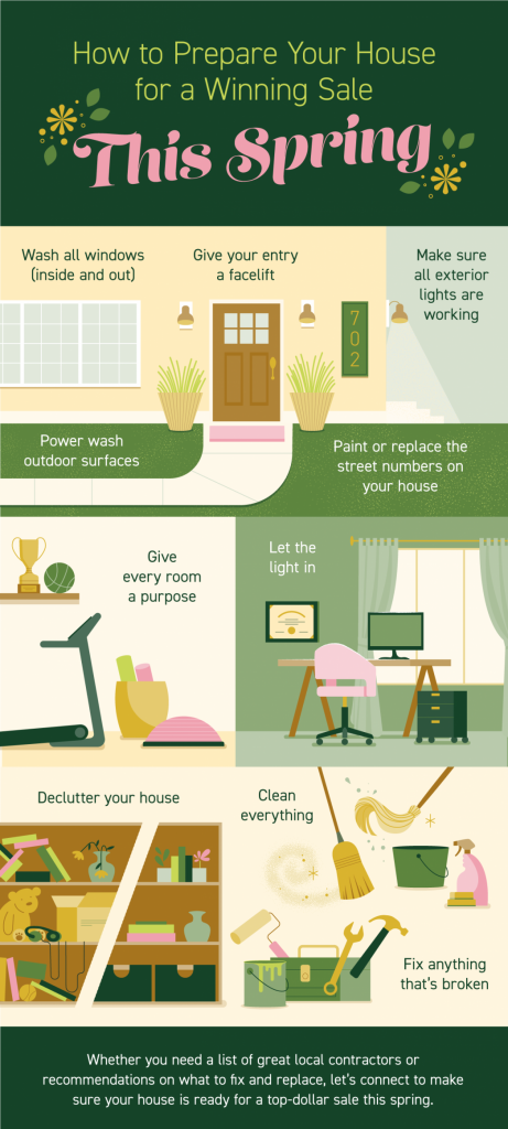 How to Prepare Your House for a Winning Sale This Spring: Wash all windows (inside and out), Give your entry a facelift, Make sure all exterior lights are working, pressure wash outdoor surfaces, paint or replace the street numbers on your house, give every room a purpose, let the light in, declutter your house, clean everything, and fix anything that's broken. Whether you need a list of great local contractors or recommendations on what to fix and replace, let's connect to make sure your house is ready for a top-dollar sale this spring.