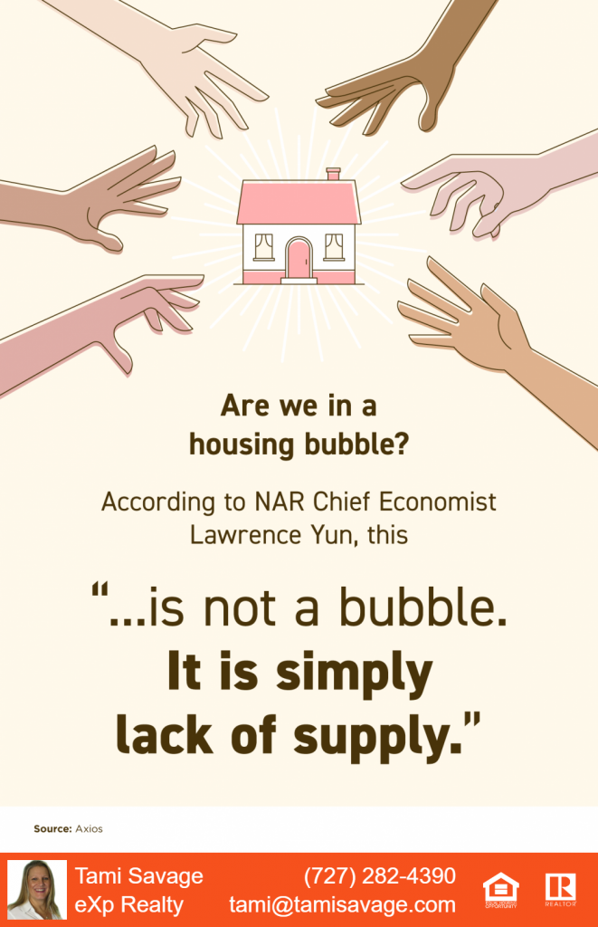 """Are we in a housing bubble? According to NAR Chief Economist Lawrence Yun, this """"...is not a bubble. It is simply lack of supply."""" Source: Axios"""
