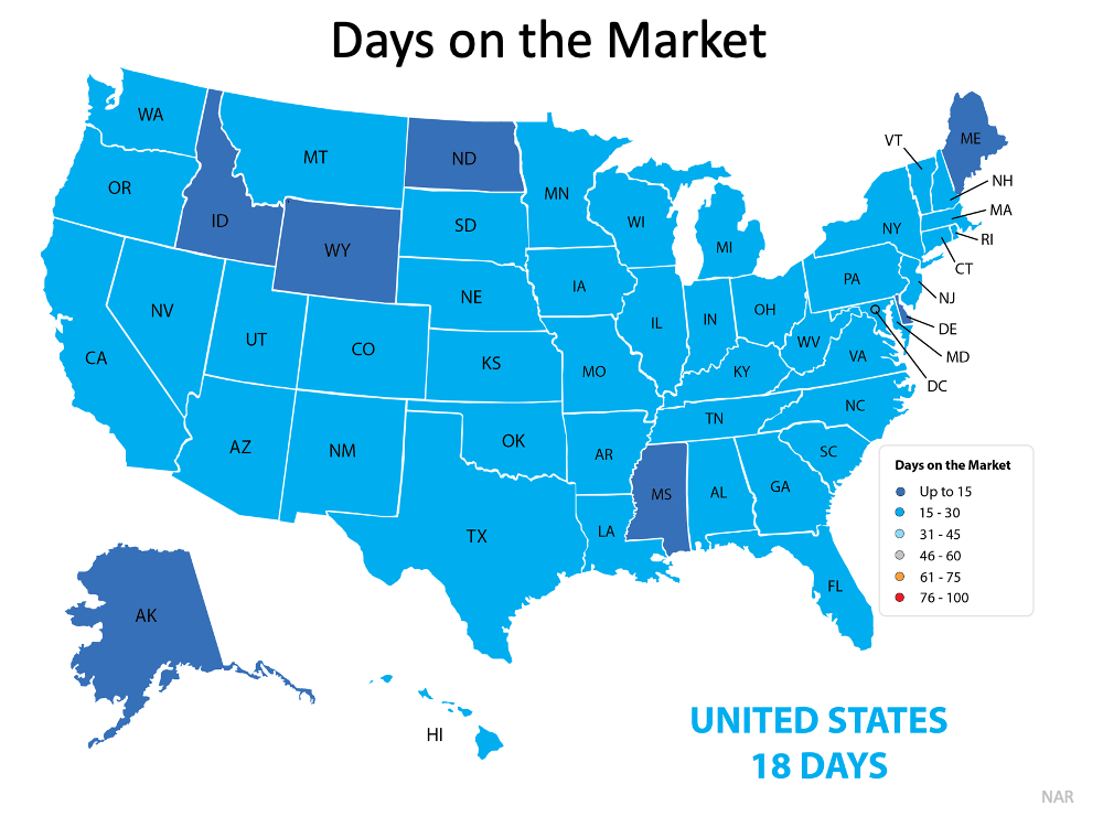 Days on the Market: United States 18 Days, Florida is 15-30 days. Source: NAR