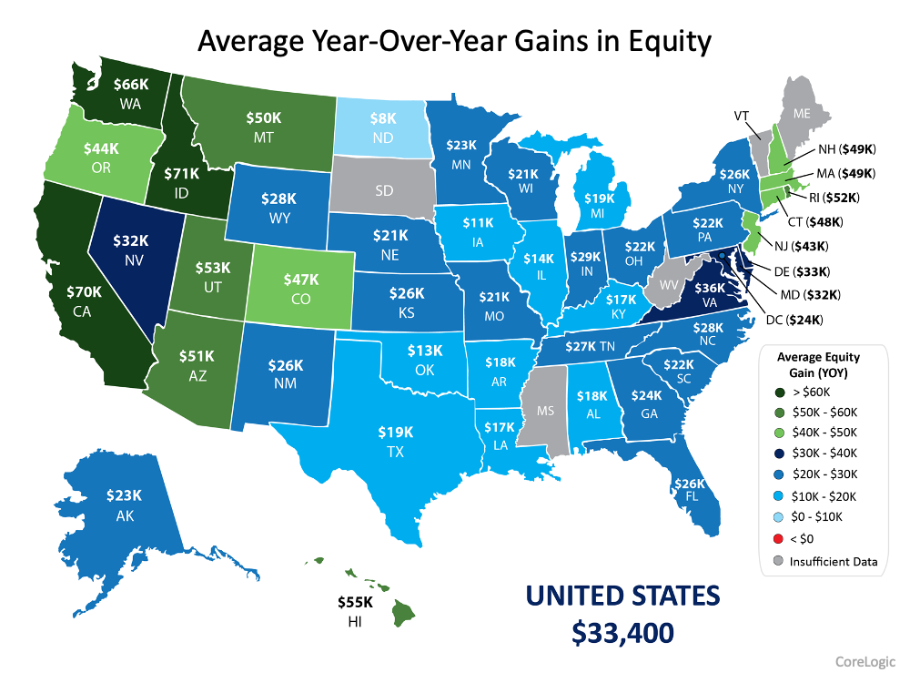 Average Year-Over-Year Gains in Equity with United States at $33,400 and Florida at $26,000.  Source: CoreLogic